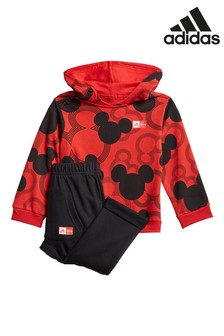 adidas Infant Red Mickey Mouse Hoodie And Joggers Set
