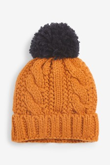 Ochre Cable Pom Beanie Hat (Younger)