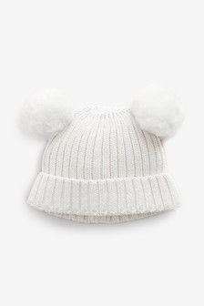Cream Double Pom Hat (0mths-2yrs)
