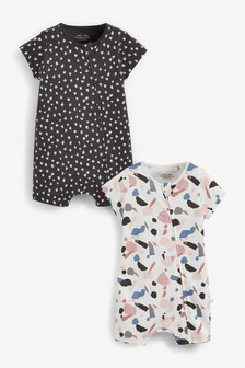Neon Rainbow 2 Pack Organic Cotton Zip Rompers (0mths-3yrs)