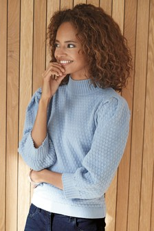 Blue Quilted Detail Jumper