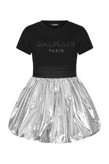 Balmain Girls Black Cotton Dress