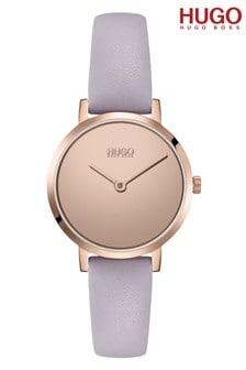 HUGO Cherish Leather Strap Watch