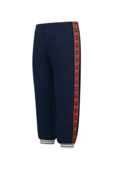 Boys Blue Cotton GG Trim Joggers