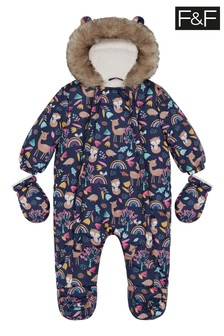 F&F Navy All Over Print Woodland Pramsuit