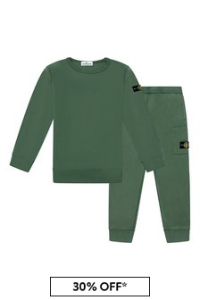 Boys Green Cotton Tracksuit