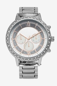 Silver Tone Ombre Dial Sparkle Bracelet Watch