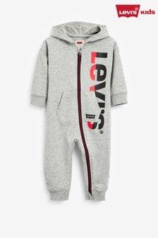 Levis Baby Grey Logo Zip Romper