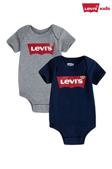 Levi's® Grey Two Pack Batwing Bodysuits
