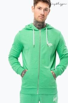 Hype. Green Mini Script Mens Zip Hoody