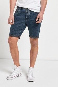 Indigo Skinny Fit Authentic Vintage Denim Shorts With Stretch