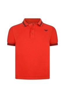 Boys Red Cotton Pique Polo Top