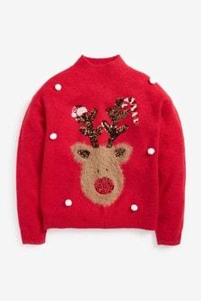 Red Fluffy Reindeer Christmas Jumper (3-16yrs)