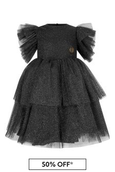 Girls Black/Silver Shimmer Dress