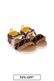 Kids Brown Furry Strappy Sandals