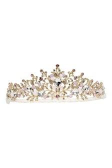 Girls Gold/Pink Diamanté Tiara Headband