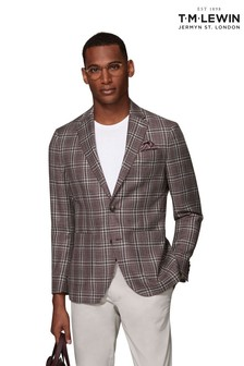 T.M. Lewin Charterhouse Woven In Italy Slim Fit Raspberry Check Jacket