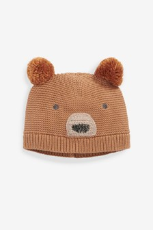 Brown Bear Double Pom Knitted Hat (Younger)