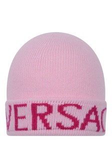 Girls Pink Knitted Beanie Hat