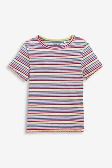 Multi Ribbed Rainbow Stripe T-Shirt (3-16yrs)