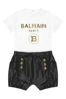 Balmain Baby Girls White Cotton Playsuit