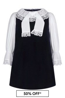 Girls Navy Velvet Dress With Lace Details