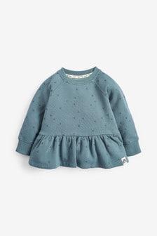 Blue Glitter Spot Soft Touch Jersey Peplum Sweatshirt (3mths-7yrs)