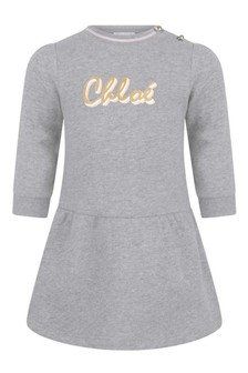 Baby Girls Grey Fleece Logo Dress