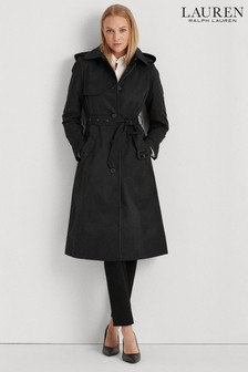 Lauren Ralph Lauren® Black Hooded Longline Trench Coat