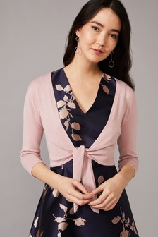 Phase Eight Pink Ana Tie Front Tie Front Cardigan