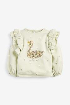 Green Swan Frill Sweatshirt (3mths-7yrs)