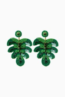 Green Beaded Leaf Earrings