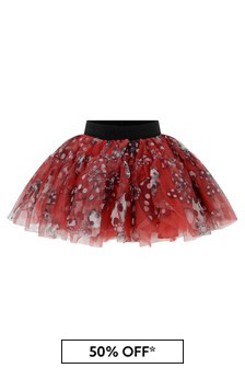 Girls Red Tulle Bow Print Skirt