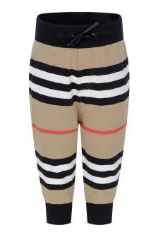 Baby Boys Beige Icon Strip Cotton Trousers