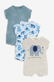 Blue Elephant 3 Pack Appliqué Rompers (0mths-3yrs)
