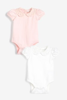 Pink/Cream 2 Pack Lace Collar Short Sleeve Bodysuits (0mths-2yrs)