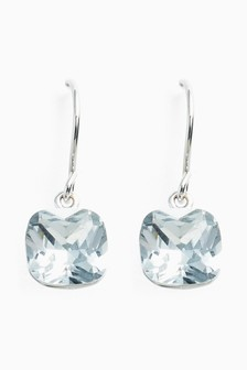 Sterling Silver Square Jewel Drop Earrings
