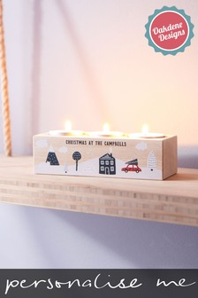 Personalised Family Christmas Tealight Holder by Oakdene