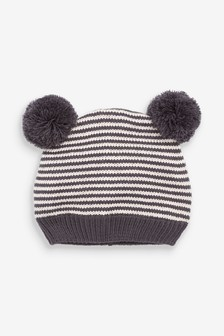 Monochrome Knitted Stripe Hat With Double Pom (0mths-2yrs)