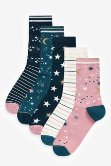Stars And Moon Patterned Ankle Socks Five Pack