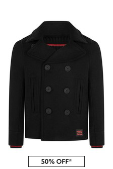 Boys Black Wool & Cashmere Coat
