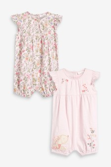 Pink 2 Pack Floral Rompers (0mths-3yrs)