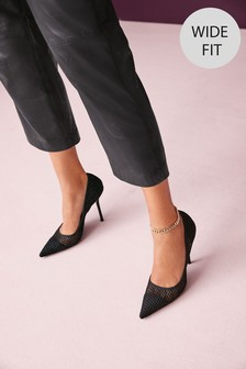 Black Sparkle Point Court Shoes