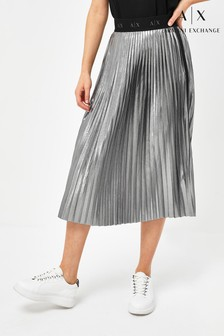 Armani Exchange Silver Pleated Skirt