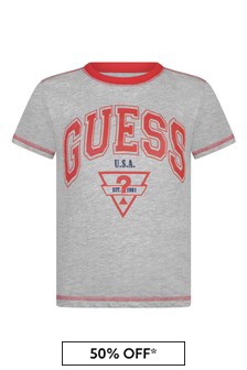 Boys Grey/Red Cotton Logo T-Shirt