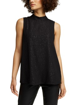 Esprit Womens Black High Neck Faux Leather Top