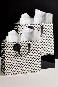 Set of 2 Monochrome Spot Gift Bags