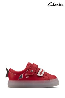 Clarks Red Leather FlareScaleLo T Shoes