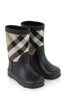 Kids Vintage Check Rain Boots