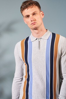 Grey Stripe Zip Neck Knitted Polo